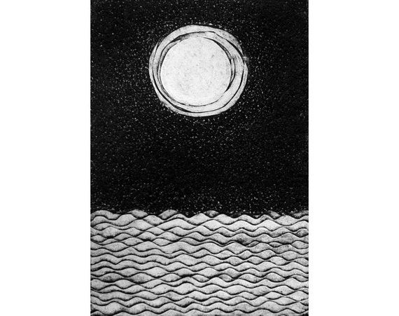 Moon and Sea etching (original collagraph) wall art