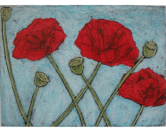 Etching poppy flower original collagraph print