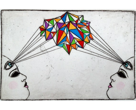 Geometric Surreal Etching I to I original hand-pulled print with watercolor
