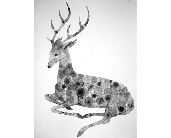 Stag 21X30 original ink bubble painting