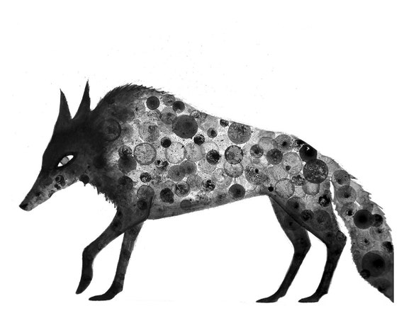 Wolf Print 8X10 print of my original ink painting, animal painting, ink bubble