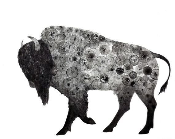 Bison 8X10 Print of my original ink painting, animal painting, bubble art, buffalo