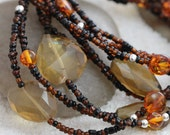 CLEARANCE. Three Strand Necklace. Genuine Amber. Whiskey Quartz. Beaded Necklace.  21 Inch Necklace. s10n007