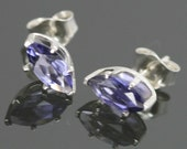 CLEARANCE Iolite Marquis Cut Stud Earrings - 8x4mm  - Sterling Silver s10e040