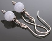 CLEARANCE Blue Lace Agate on Long Sterling Silver Ear Wires - Earrings - s10e044