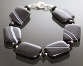 CLEARANCE Black Agate, Onyx, and Sterling Silver Bracelet - s10b023
