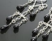 CLEARANCE Black Garnet Cascade Earrings with Leverback Ear Wires s12e037