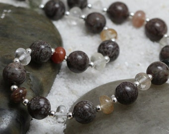 CLEARANCE. Autumn Gemstones Necklace. Rutilated Quartz. Brown Snowflake Jasper. Sterling Silver. Beaded Necklace. 19 Inch Necklace. f11n005