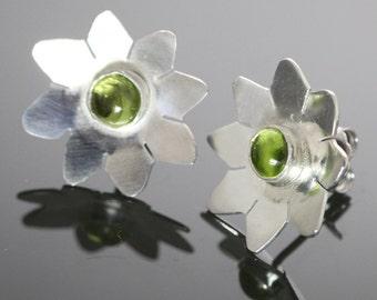 CLEARANCE. Peridot Flower Stud Earrings. Sterling Silver. Genuine Gemstone. August Birthstone. f09e070