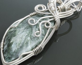 CLEARANCE Seraphinite Sterling Silver Wire Wrapped Pendant with Chain f09p004