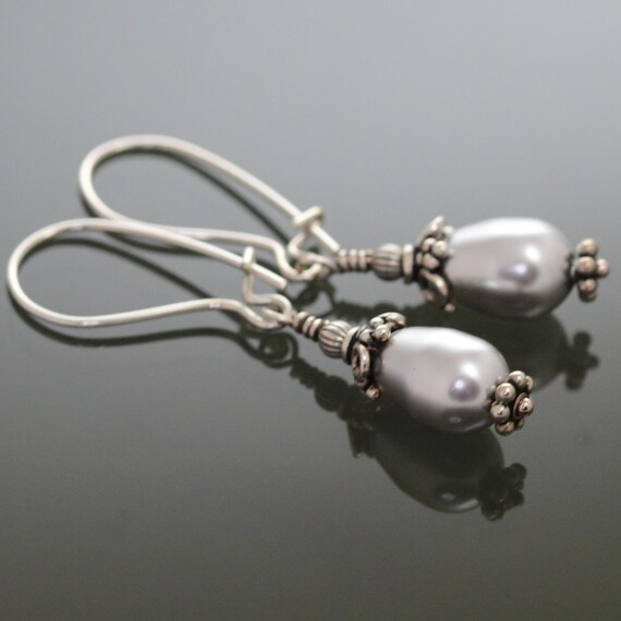 Silver Pearl Drops on Sterling Silver Kidney Wires f09e091