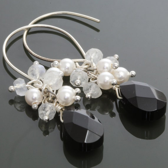 Black Onyx, Moonstone, and Faux Pearl Sterling Silver Earrings s12e036