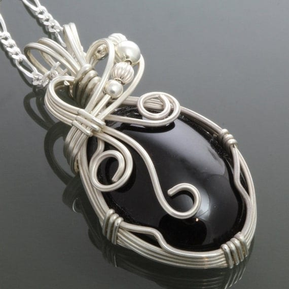 Black Onyx Sterling Silver Wire Wrapped Pendant on a Chain - Necklace f09p010