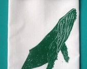 SALE block print whale tea towel hand printed