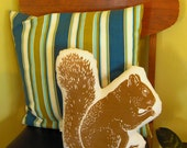 GIANT block print squirrel stuffie