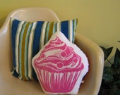 GIANT block print cupcake pillow