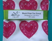 SALE all over pattern heart tea towel