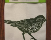 ORGANIC wood thrush tea towel block print