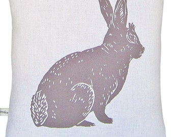 block print bunny accent pillow