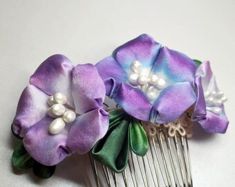 Blue or Purple Morning Glory kanzashi (Asagao) Silk Charmeuse Comb. MADE TO ORDER