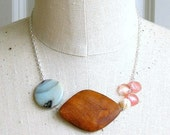 Balsa - gemstone and wood necklace