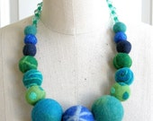 Huge Blue Balls - felt ball necklace