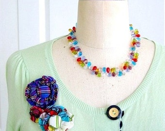 Glass beaded cluster necklace, rainbow, colorful, statement, retro - Juicy Fruit
