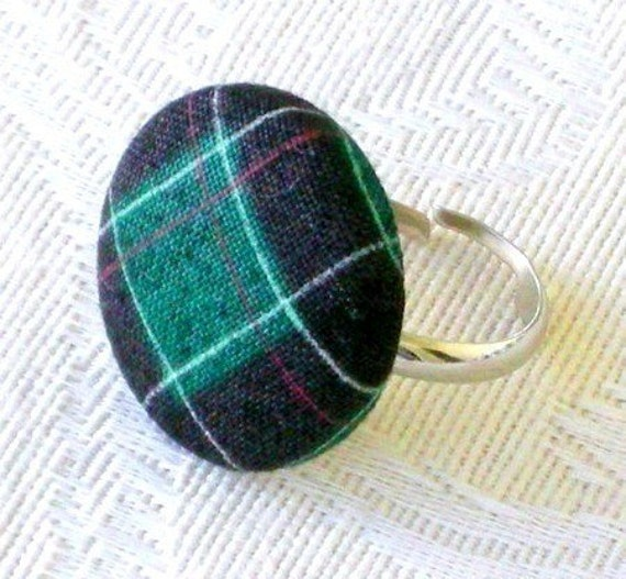 Scotland Is for Me - green tartan ring