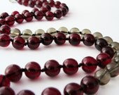 Long Cranberry Necklace - Red and Gray