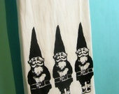 Gnomes Tea Towel CUTE screen print gnomes kitchen towels home decor black retro Indie Housewares gardening gifts