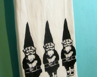 Gnomes Kitchen Towel CUTE screenprint tea towels decor gnome gifts Indie Housewares hostess gift Woodland