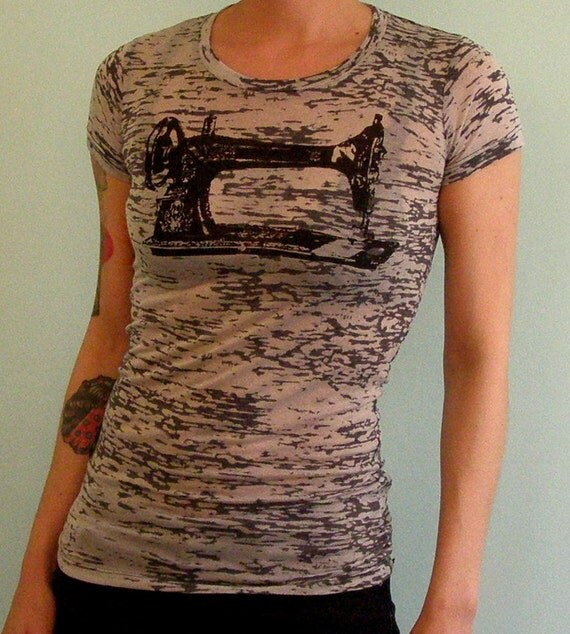 SALE Sewing Machine Womens T-Shirt- Sew a Go-Go - Screenprinted Top - Limited Edition Black Burn Out  - Small