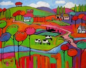 Small Town in Fauve IX With Cows, Commissioned painting by Patty Baker