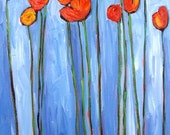 Abstract Red Poppies on Blue