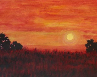 Sunrise and Autumn Fields- Abstract, Huge Contemporary Acrylic on a Extra Large Canvas Commissioned Painting by Patty Baker