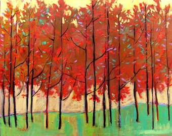 Abstract Red Trees- Abstract, Huge Contemporary Acrylic on a Extra Large Canvas Commissioned Painting by Patty Baker