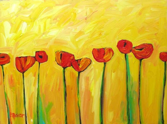 Poppies on Yellow