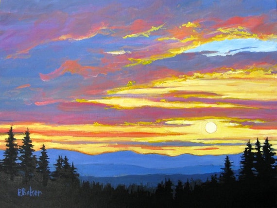Sunset over Pines and Mountains-  Contemporary Original Painting on Genie Collapsible Canvas by Patty Baker