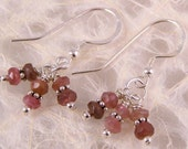 Faceted Watermelon Tourmaline, Bali and Sterling Silver Earrings - DOUBLE TRIPLETS