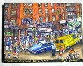 Print on Canvas Giclee Wall Art Second Avenue Deli New York City East Village Street Scene Crowd Police Car