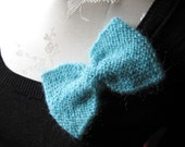 Knit Bow Turquoise With Pin OOAK