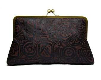 African clutch purse, Evening purse, Brown handbag, Afrocentric Accessories, Chocolate Brown Adire Supersnap Clutch, African Batik Clutch