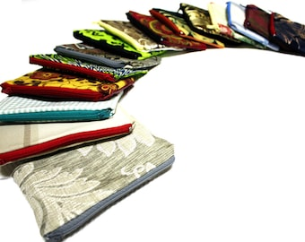 Zipper Pouch Set, African Wedding Favours, Afrocentric gift, - 3, 5 or 10 African print & Batik Zipper pouches, Gift Set, Stocking Filler