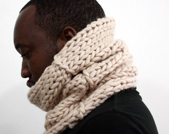 Cream snood, Alpaca wool cowl, Chunky Knit Cowl, Infinity scarf, Winter scarf, Hand knitted scarf, Unisex scarf, Wool scarf, Tube scarf