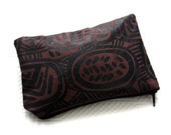 Zipper pouch, coin purse, African purse, tribal print purse, Batik makeup bag, brown zipper pouch, Batik Zipper Pouch, wedding favour