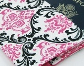 Passport Cover  Hot Pink Black Damask on White