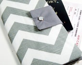 Travel Passport Wallet in Gray Chevron Zig Zag boarding pass case