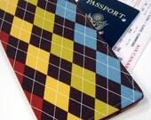 Travel Passport Wallet - Autumn Argyle boarding pass case