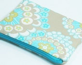 Zipper Coin Pouch - Light Blue & Yellow Modern Floral