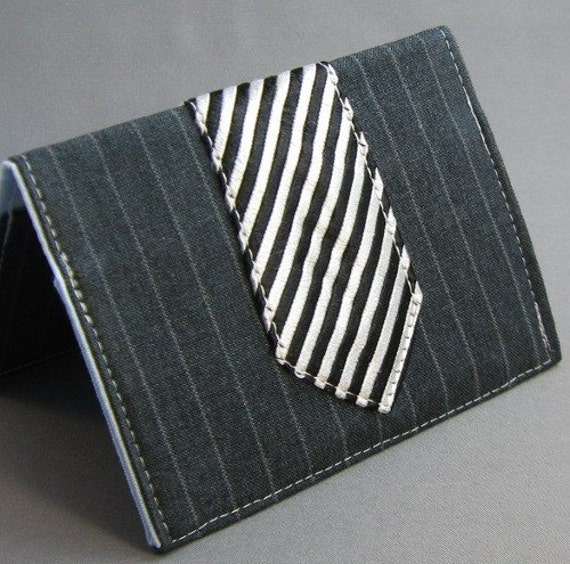 Pinstripe Suit and Striped Tie - Business Card Case